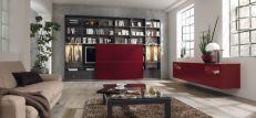 Sala moderna com móveis coloridos