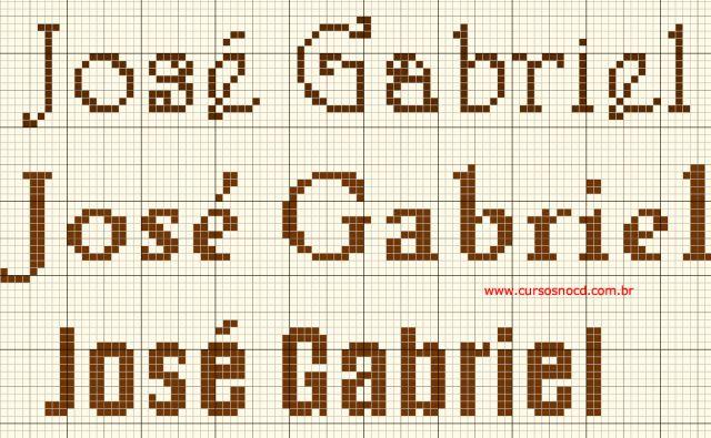 Gráfico grátis com nome em ponto cruz