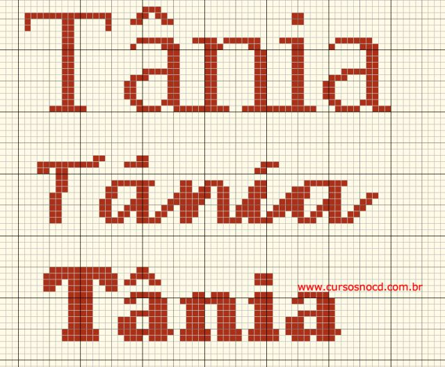 Gráfico grátis com nomes em ponto cruz