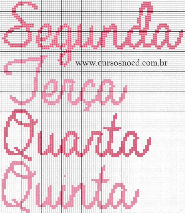 Letras Cursivas Semaninha em Ponto Cruz