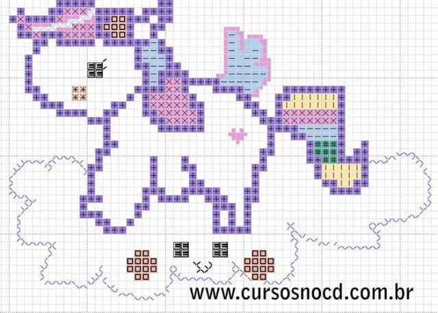 Gráfico grátis de ponto cruz desenho de Unicórnio