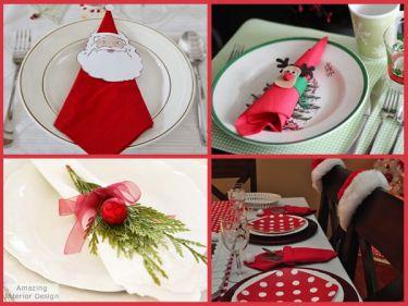 Guardanapos na mesa de natal