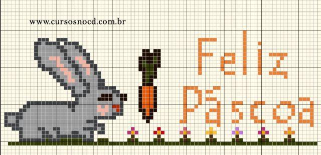 Gráfico Coelho - Feliz Páscoa em ponto cruz