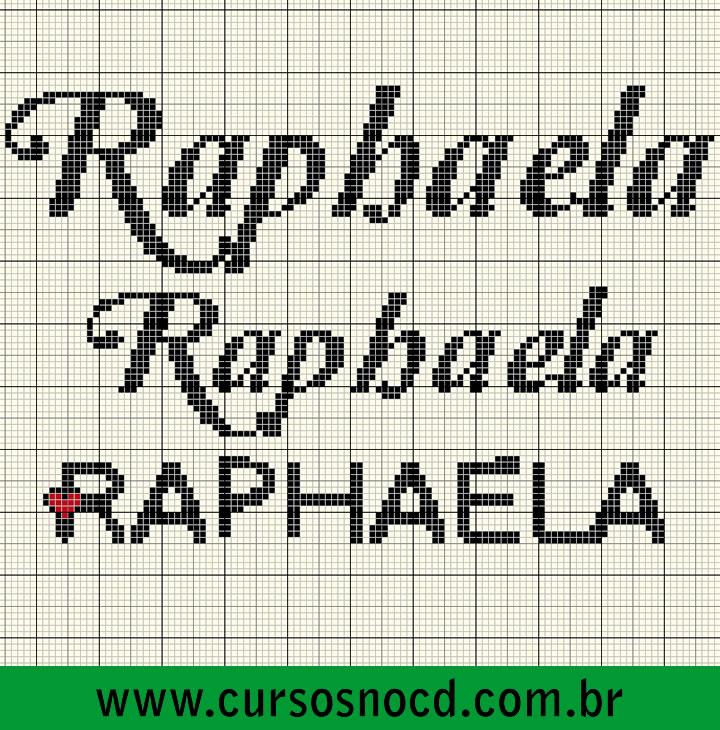Gráficos com nome Raphaela em ponto cruz