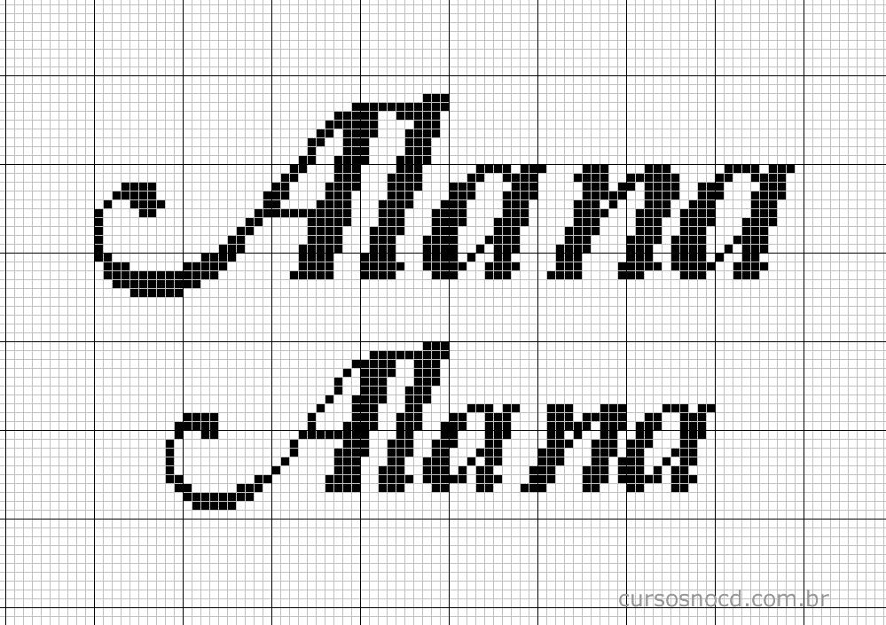 Nome Alana em ponto cruz