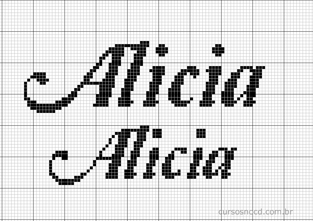 Nome Alicia em ponto cruz