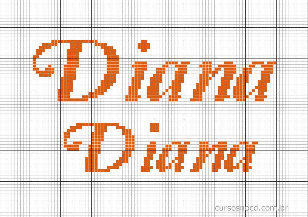 Nome Diana em ponto cruz