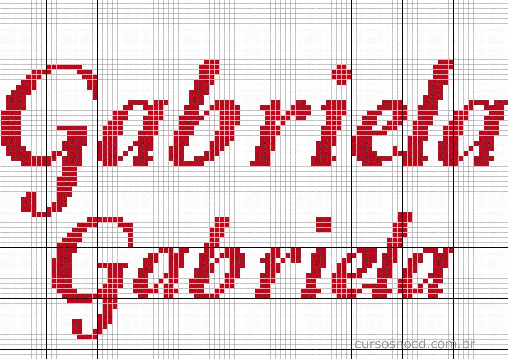 Nome Gabriela em ponto cruz