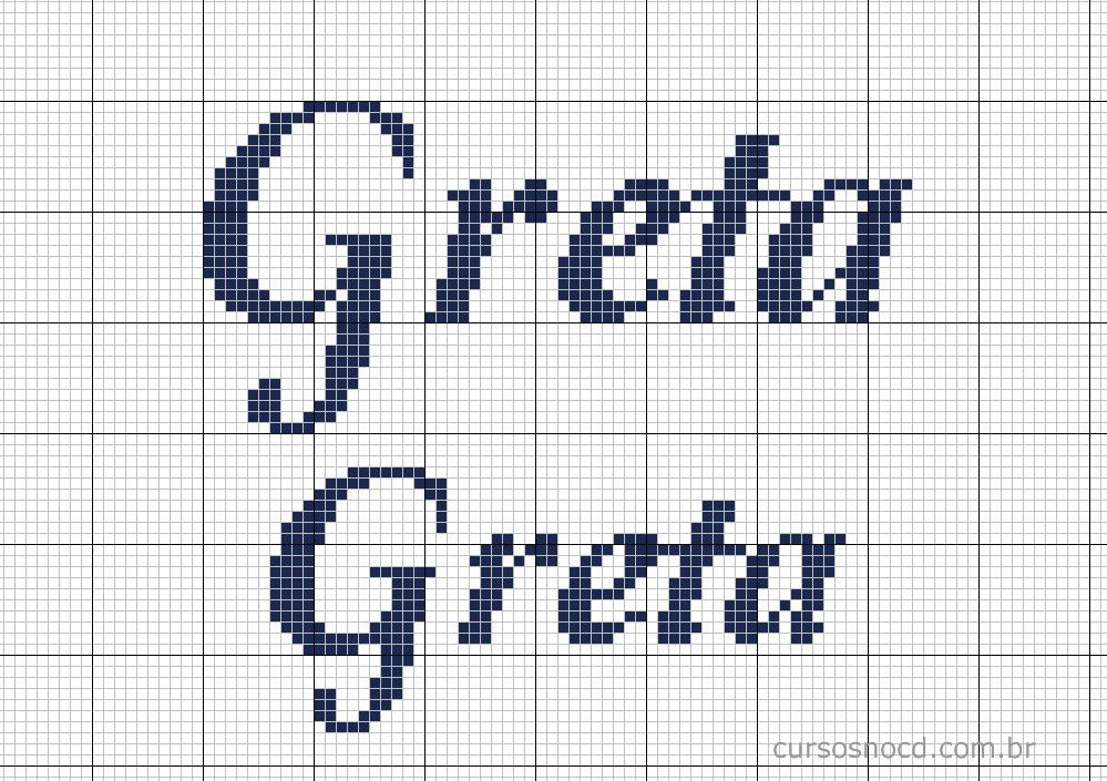 Nome Greta em ponto cruz