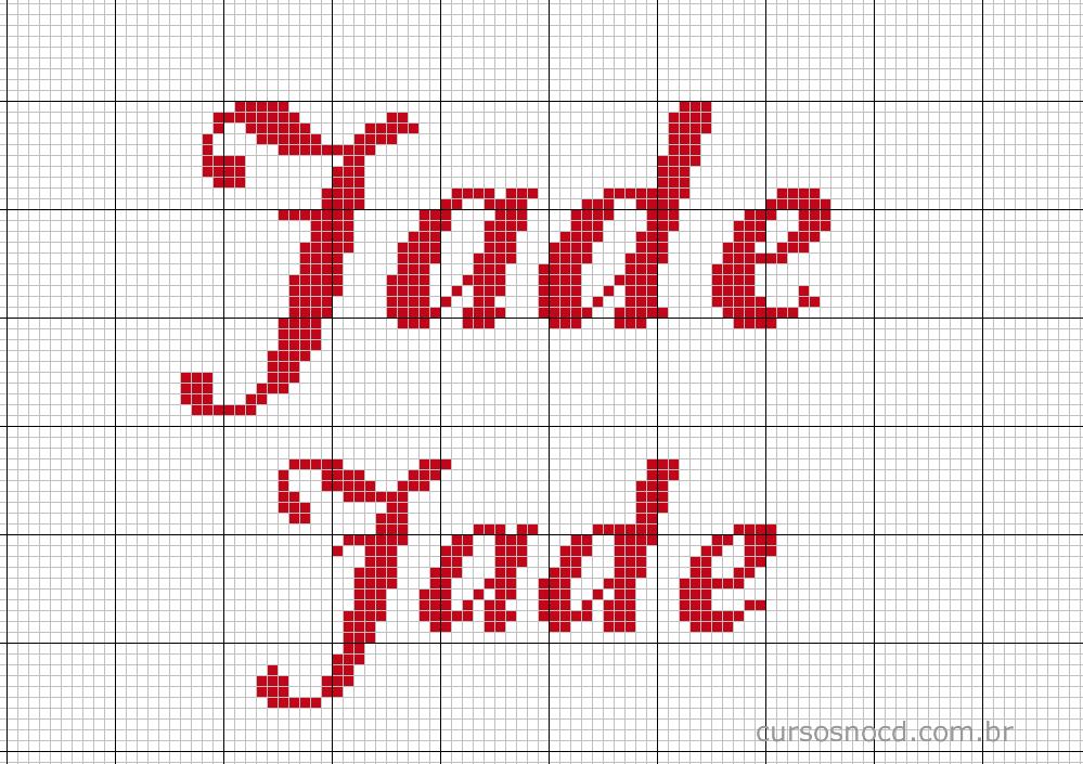 Nome Jade em ponto cruz