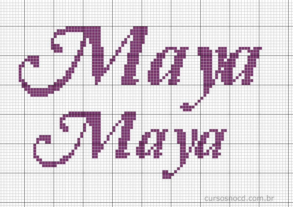 Nome Maya em ponto cruz