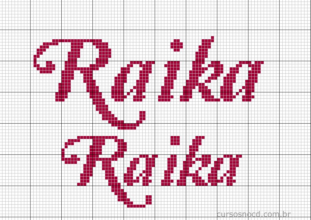 Nome Raika em ponto cruz