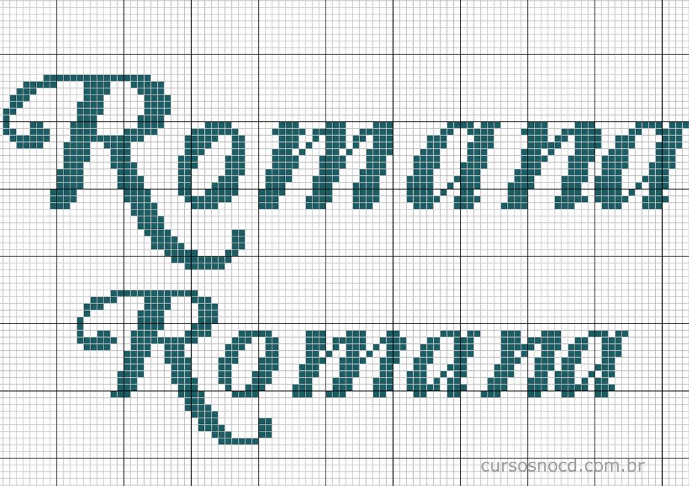 Nome Romana em ponto cruz