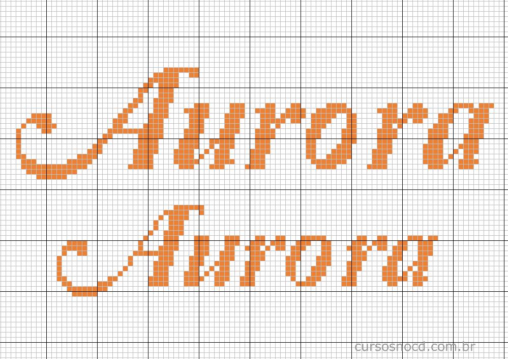 Nome Aurora em ponto cruz