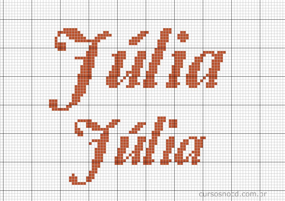 Nome Júlia em ponto cruz