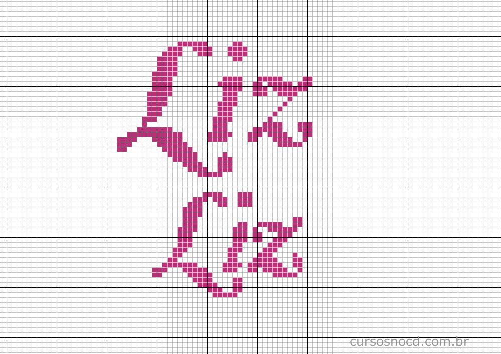 Nome Liz em ponto cruz