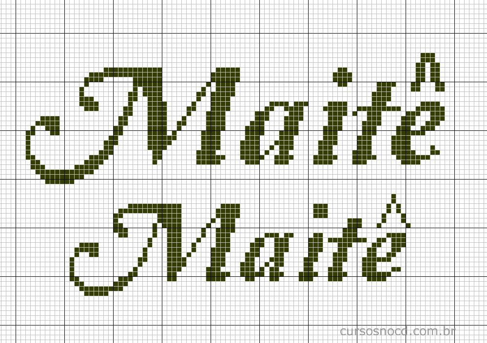Nome Maitê em ponto cruz